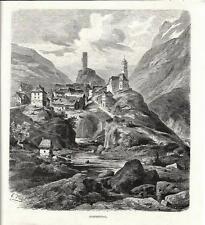 Stampa antica: HOSPENTHAL San GOTTARDO Svizzera 1880 Old Print Switzerland