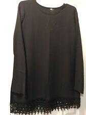 Black Dress with Lace Trim Size Medium