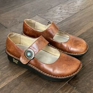 Alegria PAL-612 Womens Sz 37, 7 - 7.5 US Paloma Chestnut Leather Mary Jane Shoes
