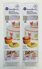 2X Sets Wilton Sugar Sheets Edible Gift Theme Sticker For Cakes Cupcakes Cookies