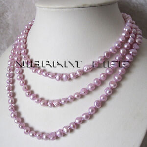 """58"""" 7-8mm Light Violet Baroque Freshwater Pearl Necklace Jewelry"""