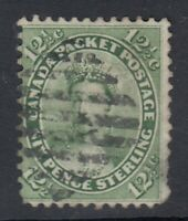 """Canada Scott #18  12 1/2 cent Queen Victoria yellow green """"First Cents""""  F"""
