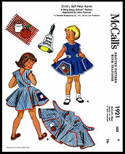 Child APRON Sewing Pattern McCall's 1921 Girls Toddler Teaching DING DONG SCHOOL