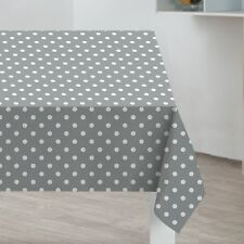 Grey Polka Dots PVC Tablecloth Wipe Clean Table Cloth 170cm x 130cm (almost 6ft)