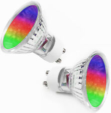 2 X LED GU10 COLOUR CHANGING MOOD MULTI COLOR SPOT LIGHT BULBS LAMPS COLOURED