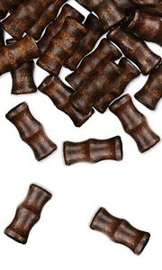 20 Hand Cut Bamboo Dark Brown Boxwood Wooden Loose Wood Tube Beads With 3mm Hole