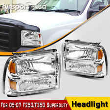 For 2005-2007 Ford F350 F450 F550 Super duty Headlights Left+Right 05 06 07 Pair