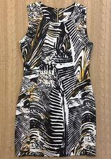 CALVIN KLEIN Sheath Dress Black Gold White Brown Tiger Print Sleeveless - SIze 6