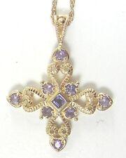 Sterling Silver Vermeil Cross Purple CZ Pendant Dainty Chain Necklace Religious