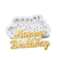 Sugar Craft Fondant Silicone Chocolate Baking Mold Happy Birthday Mould 3D