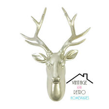 Gold Stags Head Deer Wall Mount Faux Modern Decor Taxidermy Trophy Animal
