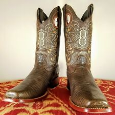 Wild West Boots - Brown Teju Lizard Leather Western Square Toe - Mens US 7.5