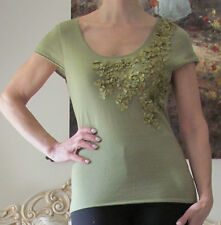 New VALENTINO Runway Cashmere,Wool Knitted,Flowers dress-y top/blouse US 8-10,L