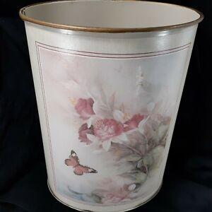 """Vintage Trash Can Wastebasket Floral Butterfly Oval Metal 13.5""""  34.25cm"""