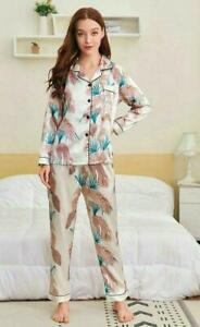 Womens Satin Tropical Print Button Up Ladies Pyjamas Loungewear Set Size 6-16