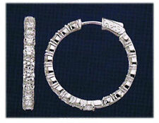 Earring 64 x .10 ct 1 3/4 inch 6.39 carat Round cut Diamond 14k White Gold Hoop