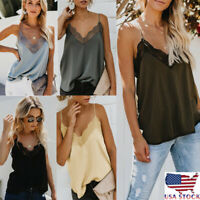 Women's Silk Satin Camisole Plain Strappy Vest Top Sleeveless Blouse Shirt Tank