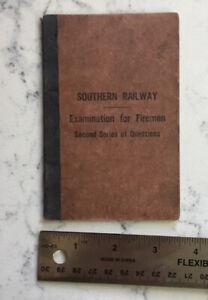 VINTAGE RAILROAD EMPLOYEE BOOK SOUTHERN RAILWAY EXAMINATION FIREMEN #2 1914