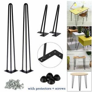 "4x Hairpin Table Legs 10mm Metal 8"" 14"" 16"" 28"" Furniture Table Desk Bench UK"