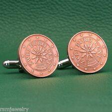 Austrian Alpine Edelweiss Flower Coin Cufflinks, 2 Euro Cents, Austria EU Europe