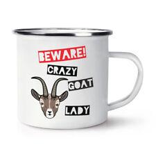 Beware Crazy Goat Lady Retro Enamel Mug Cup - Funny Animal