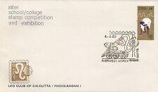 (03424) de la India Cubierta leopex Leo Club Inter la escuela/universidad Calcuta 4 de abril de 1981