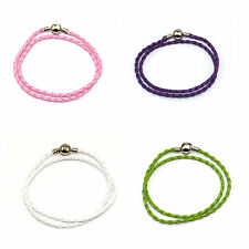 PU Plaited Two wrap Leather bracelet for Adding Charms On