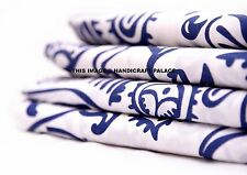 Indigo Blue Fabric 10 Yard Hand Block Print Crafting Cotton Dabu Indian Fabric