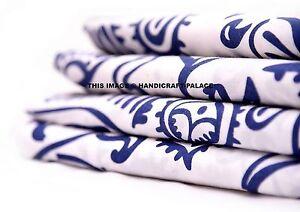 Indigo Blue Fabric 10 Yard Hand Block Print Crafting Cotton Dabu Indian Fabric