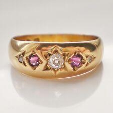 Charming Antique Edwardian 18ct Gold Ruby & Diamond Ring c1902; UK Size 'M 1/2'