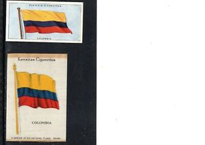 VERY EARLY COLOMBIA FLAG CIGARETTE CARDS, 2 DIFFERENT FLAGS, 1 SILK CARD