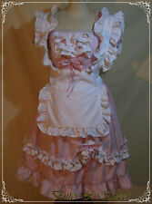 Lolita pastel pink-Maid-Cosplay-Halloween-Fancy Dres-Costum-white pinafore-apron