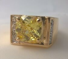 G-Filled Men's 18ct yellow gold ring simulated diamond citrine glistening Gent's