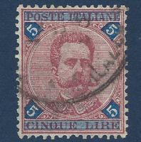 1891 ITALY 5 LIRA STAMP #72 UMBERTO I USED, RARE