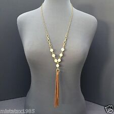 Bohemian Style Gold Chain Natural Stone Bead Brown Suede Tassel Decor Necklace