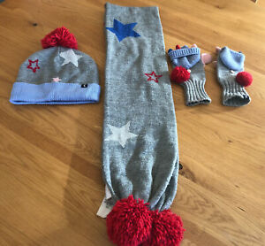 Joules Girls Hat, Scarf & Glove Star Set In Good Used Condition Rrp £40 Age 8-12