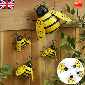 4PCS Decorative Metal Art Bumble Bee Backyard Garden Accents Wall Ornament UK