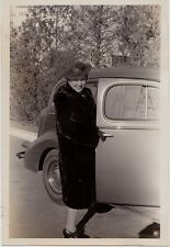 Old Vintage Antique Photograph Woman in Great Hat By Antique Car Automobile