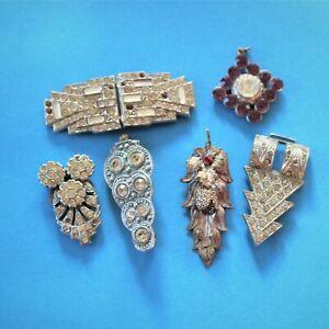 Antique jewellery Art Deco dress clips buckles mixed lot Czech Mizpah repairs