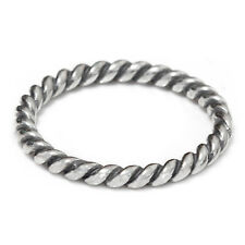 Size 8 Solid 925 Sterling Silver Twist Rope Stackable Stacking Dress Ring Band