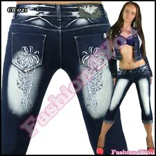 Plus Size Shorts Women's Denim Tattoo Capri Jeans Cropped Size 14,16,18,20,22 UK