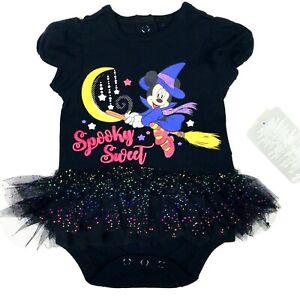 Disney Store Baby Black Short Sleeve Glitter Spooky Minnie Mouse Bodysuit 0-3 MO