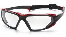 Pyramex Highlander Red Black Clear Anti Fog Safety Glasses With Strap Z87.1