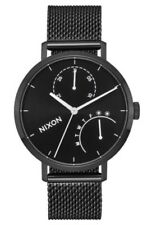 NIXON CLUTCH CHRONO BLACK STAINLESS STEEL MESH BRACELET WOMENS WATCH BRAND NEW