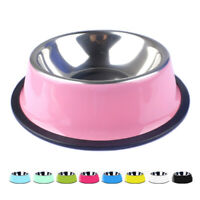 Travel Feeding Stainless Steel Water Food Dish Puppy Feeder Dog Cat Pet Bowl