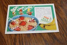 Ink Blotter Advertising Kellogg's Rice Krispies Unused Vintage 1950's Ephemera