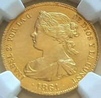ISABEL II.1861. SPAIN.100 REALES.MADRID.NGC MS 63.SC.