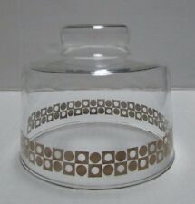 Mid Century Modern MCM Pyrex Glass Cheese Dome Cloche Clear Gold Circles Squares