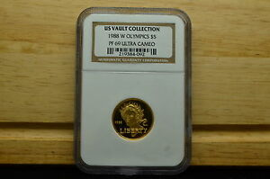 1988-W OLYMPICS MODERN GOLD OLYMPICS COMMEMORATIVE $5 GOLD COIN NGC PF69