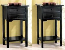Set of 2 ** BLACK PINE WOOD SIDE, END OR NIGHT TABLE W/ 2 DRAWERS & SHELF * NIB